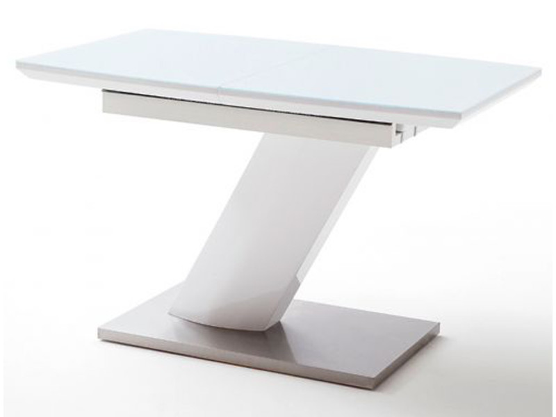 Table extensible design coloris blanc brillant - l.120-160 x h.76 x p.80 cm -pegane-