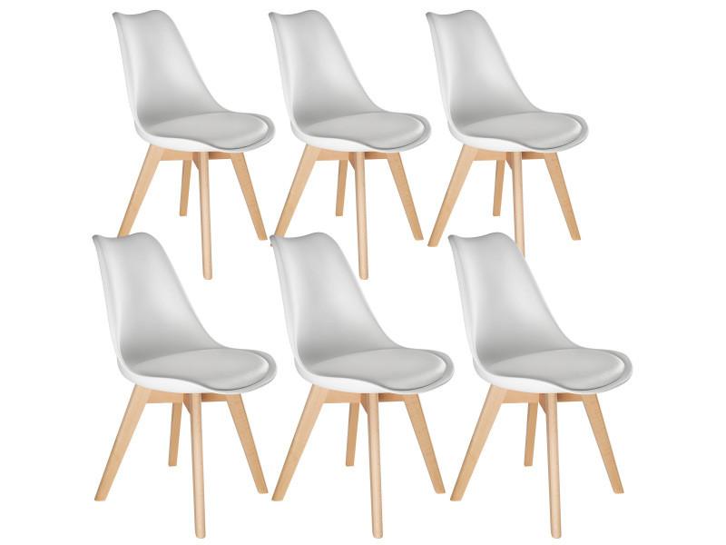 Tectake 6 chaises de salle à manger frédérique style scandinave pieds en bois massif design moderne - blanc 403816