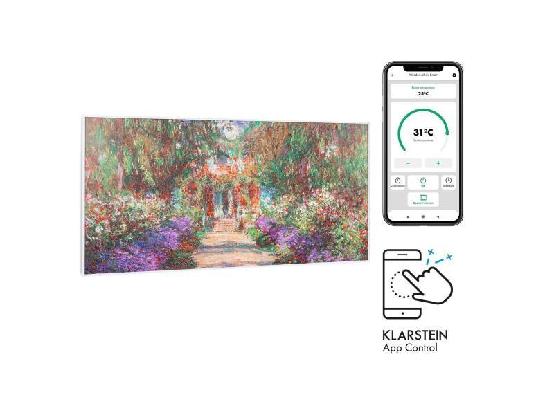 Klarstein wonderwall air art smart radiateur infrarouge connecté , 120 x 60cm , chauffage 700w , pour 14m² , , design jardin