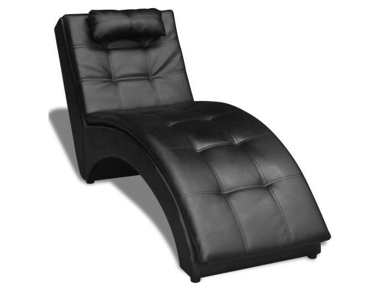 Vidaxl chaise longue avec oreiller cuir synthétique noir 242216