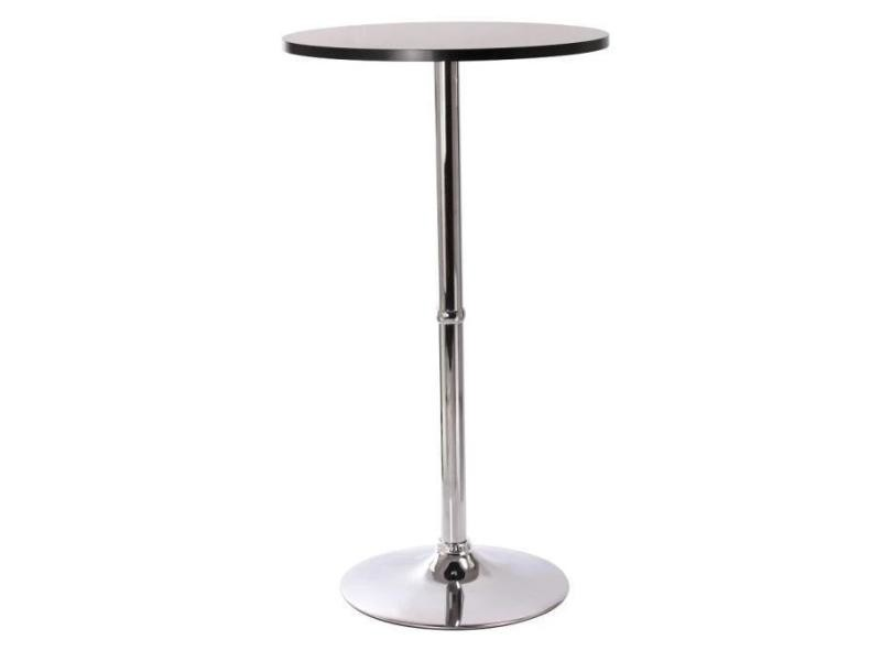 Superbe table haute mange debout bar bistrot bistrot mdf diamètre 60 cm noir 2009009 helloshop26 2009009/2