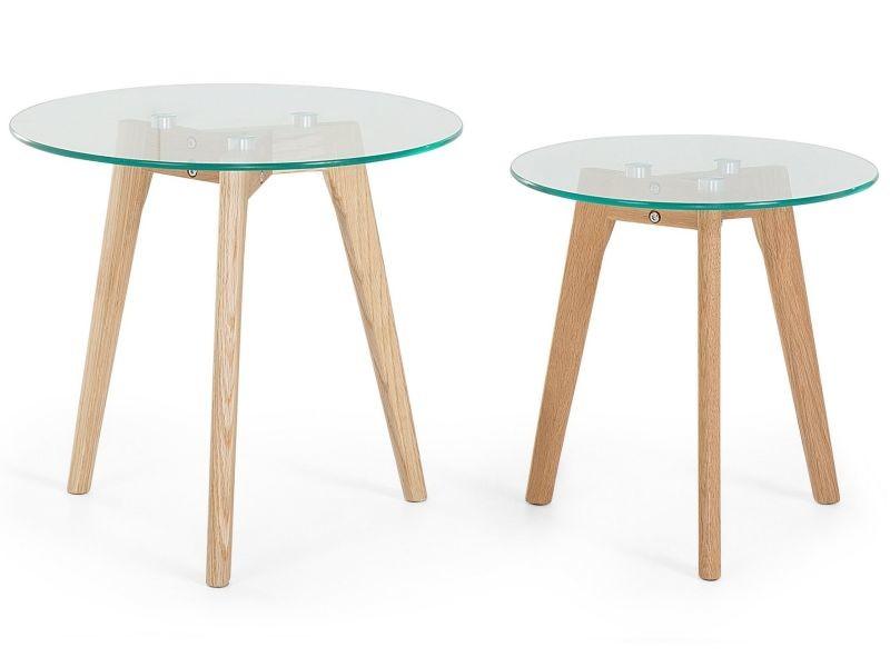 Lot de 2 tables appoint rondes en verre et bois missouri 26872