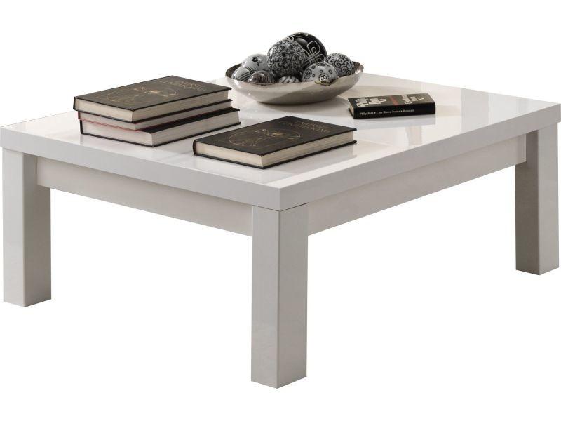 Table basse carrée design 100 cm blanc laqué brillant p-16640-co ...