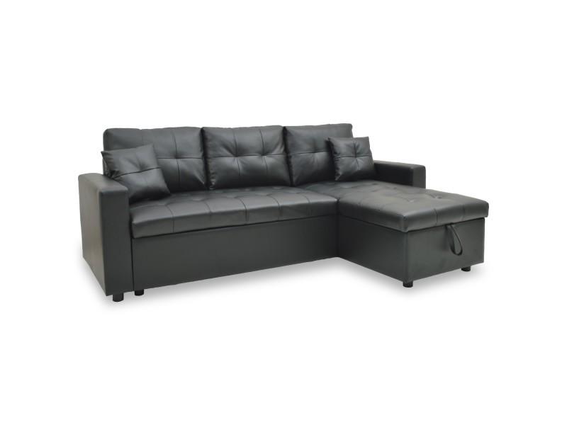 Canapé d'angle droit convertible noir