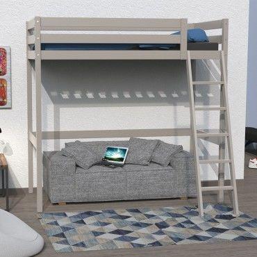 lit mezzanine studio 90x190 1 sommier gris taupe 322044 vente de lit enfant conforama. Black Bedroom Furniture Sets. Home Design Ideas