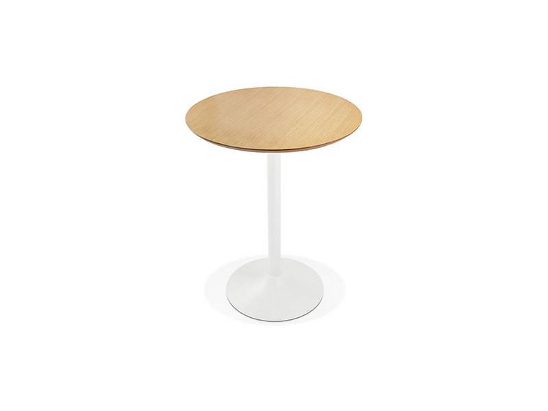 Table de bar ronde 90 cm en bois naturel et métal blanc - barman