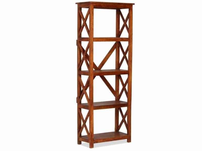 Étagère armoire meuble design bibliothèque bois massif d'acacia 160 cm helloshop26 2702033/2