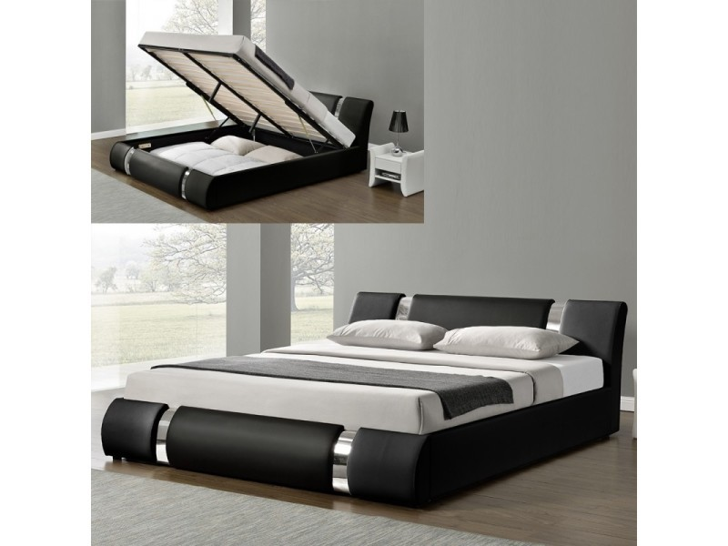 lit coffre sommier relevable nova noir tailles 140x190 vente de meubler design conforama. Black Bedroom Furniture Sets. Home Design Ideas