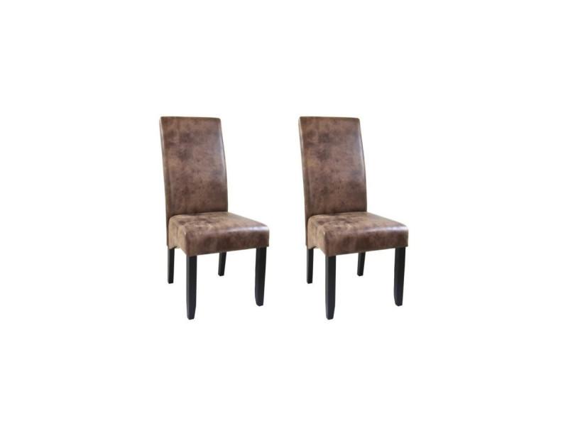 Cuba lot de 2 chaises de salle a manger - tissu marron - style contemporain - l 48 x p 64 cm Lot de 2 Chaises Scandinaves de Salle à Manger Vintage Marron Tina