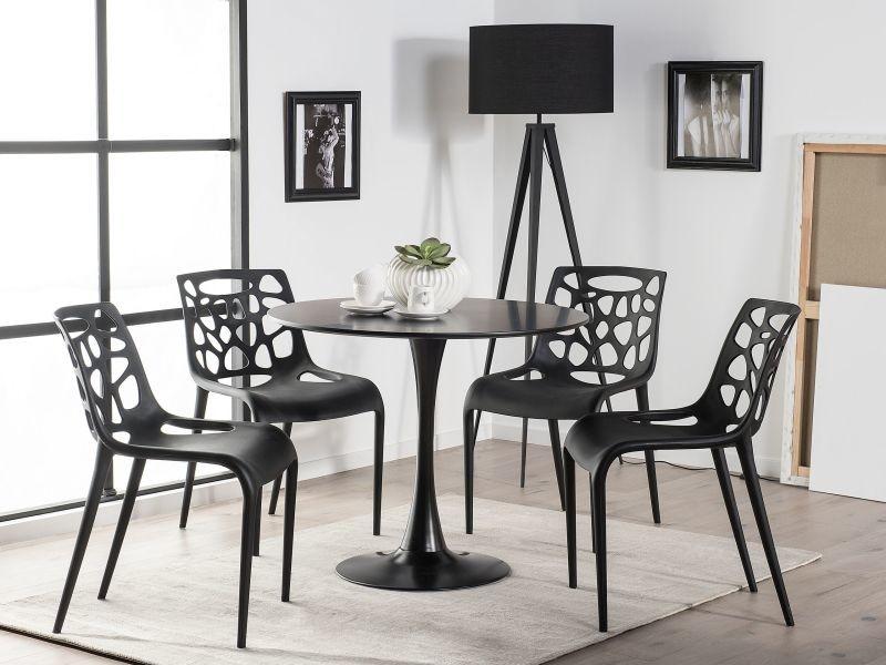Table de salle à manger noire et ronde 90 cm boca 187343