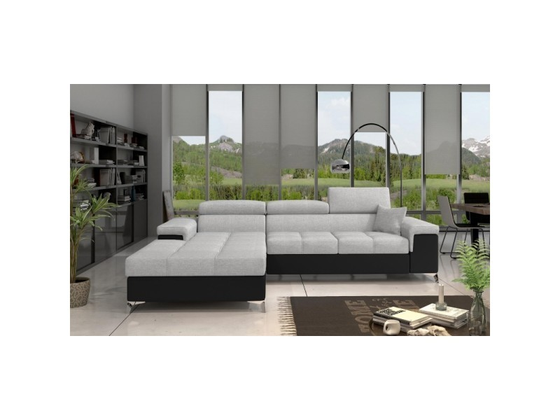 Canapé d'angle convertible design ricardo - angle gauche - tissu gris clair / pu noir