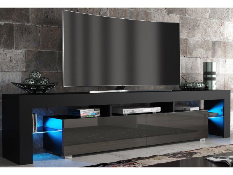 Meuble tv spider big à led en noir mat avec portes gris laqué 200 cm