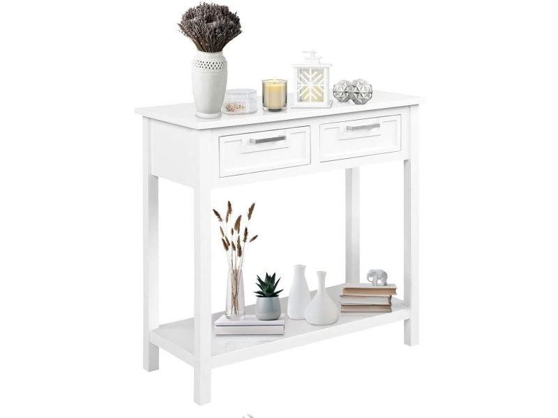 Costway table console avec 2 grands tiroirs et étagère ouverte, console rectangulaire avec pieds en bois d'acacia, idéal pour salon,chambre,entrée,80,5 x 35,5 x 82cm,charge max 100kg,blanc