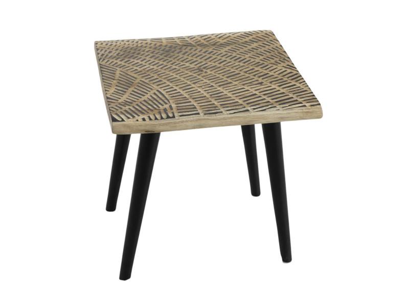 Bout de canapé carré en bois sculpté - massaï