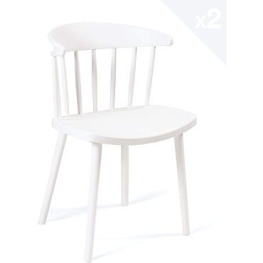 Lot de 2 chaises de cuisine à barreaux style windsor dia
