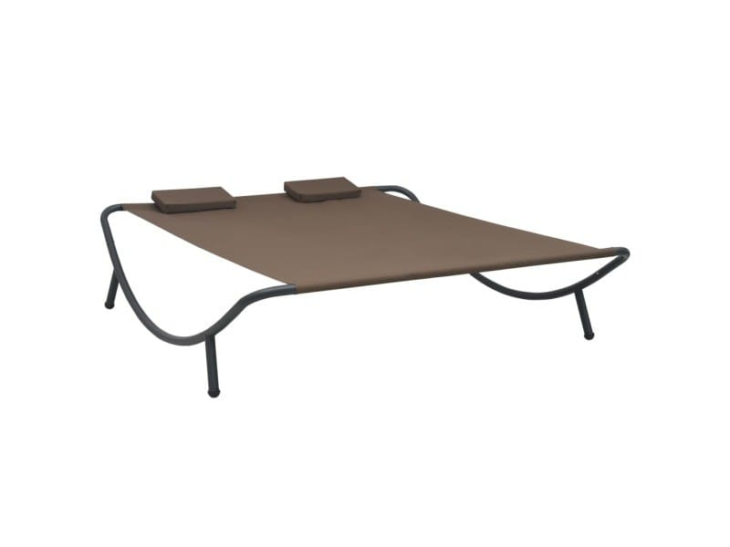 Moderne sièges de jardin serie zagreb chaise longue d'extérieur tissu marron