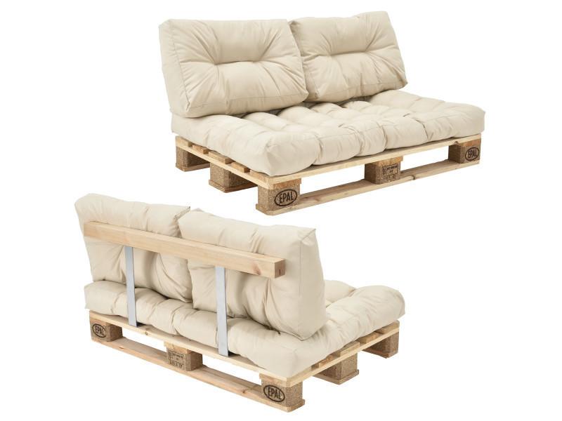 [en.casa] canapé de palette euro- 2-siège avec coussins- [crème] kit complète incl. Dossier