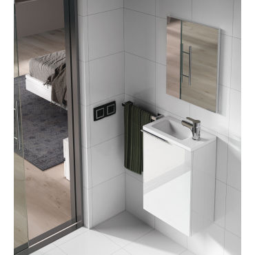 set de meuble sous lavabo avec 1 porte laqu blanc. Black Bedroom Furniture Sets. Home Design Ideas