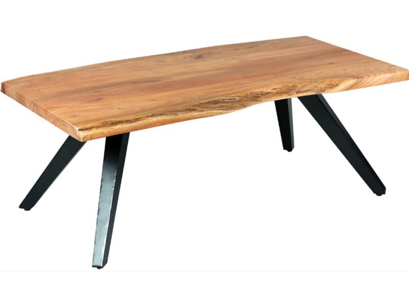 Table basse en palissandre massif et métal laqué noir - dim : l.120 x p.60 x ht.45 cm -pegane-