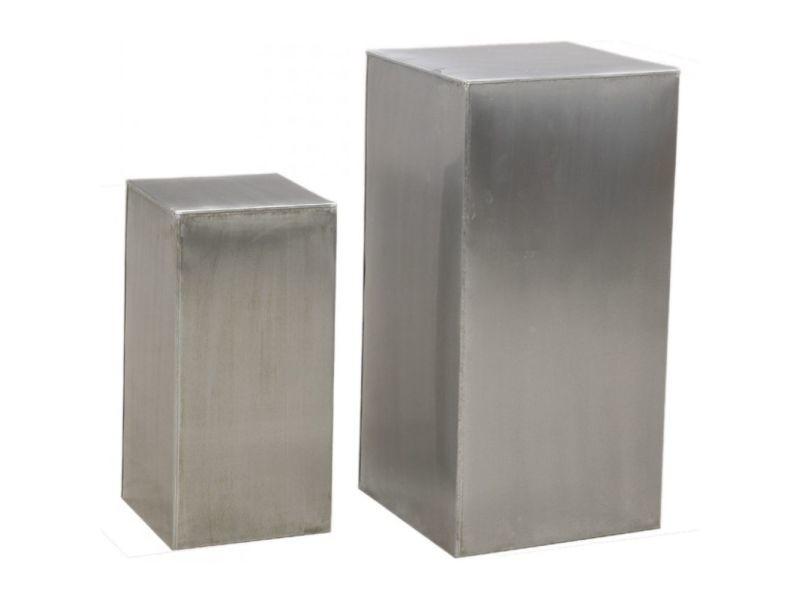 Sellettes carrées en zinc titanium (lot de 2)
