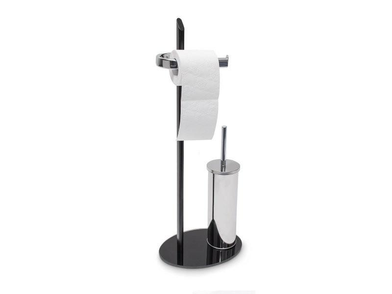 Brosse Toilette Noire ensemble porte brosse wc papier toilette verre noir et inox