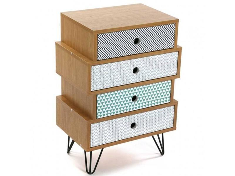 commode graphika imprime geometrique pied eiffel 4 tiroirs 20100865769 conforama. Black Bedroom Furniture Sets. Home Design Ideas