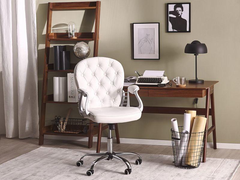 Chaise de bureau en simili-cuir blanc princess 150044