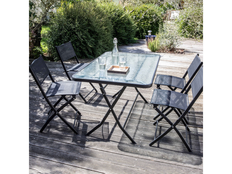 Table de jardin et 4 chaises pliantes en acier et verre - Vente de ...
