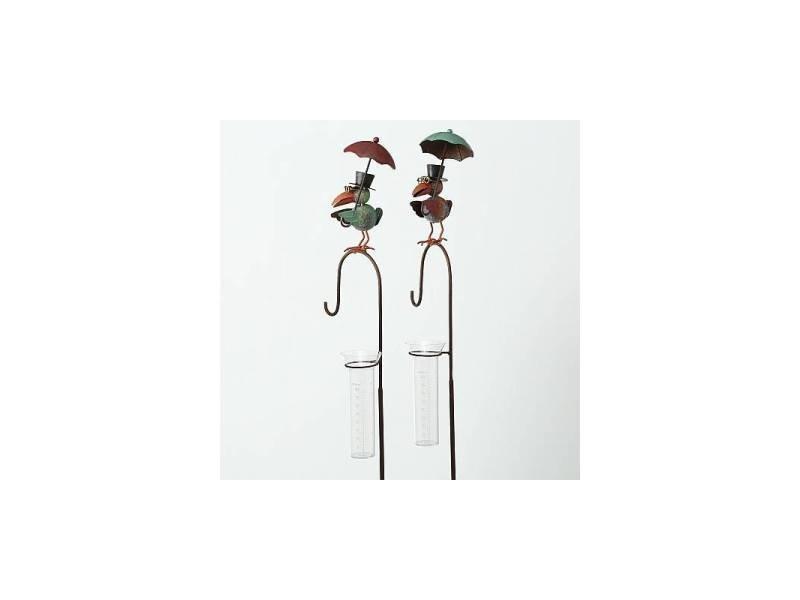 Pluviomètre à piquer tuteur à plante décoration de jardin motif corbeau en fer patiné et tube en verre 11x20x135cm
