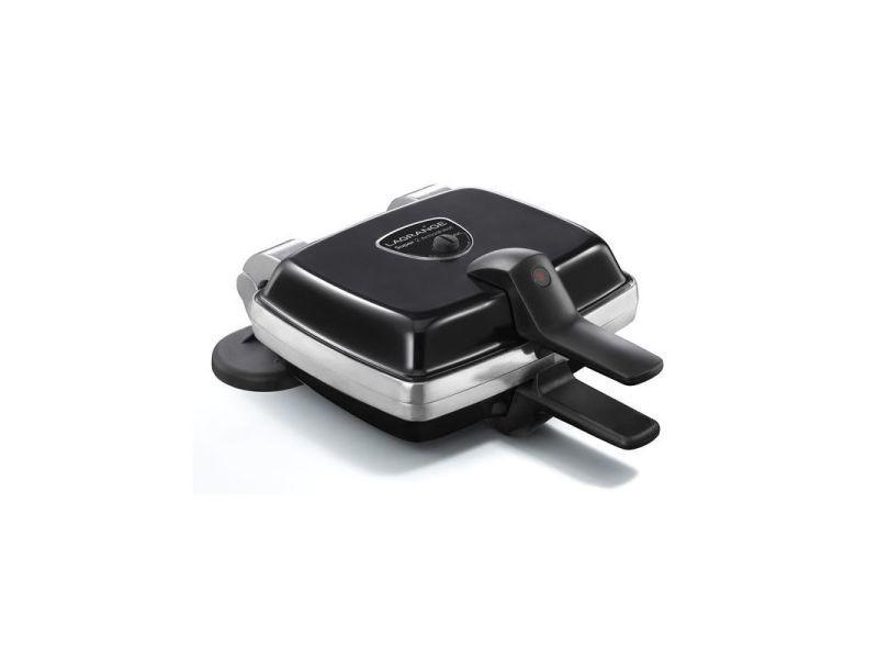 Gaufrier croque monsieur noir inox 1000w machine à gaufre grand format poignées bakélite