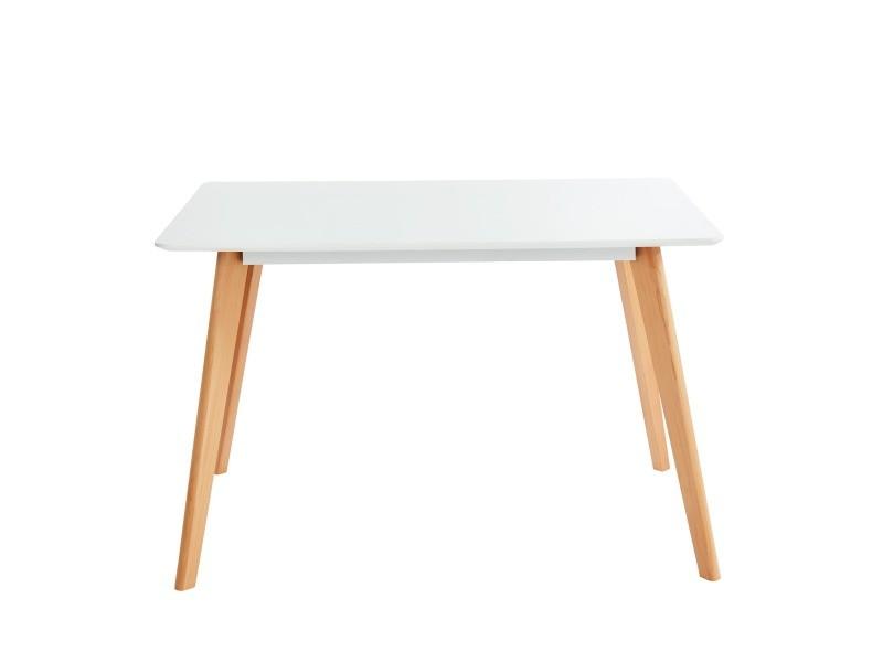 Hans table de séjour scandinave - laqué blanc mat - l120 cm HANS