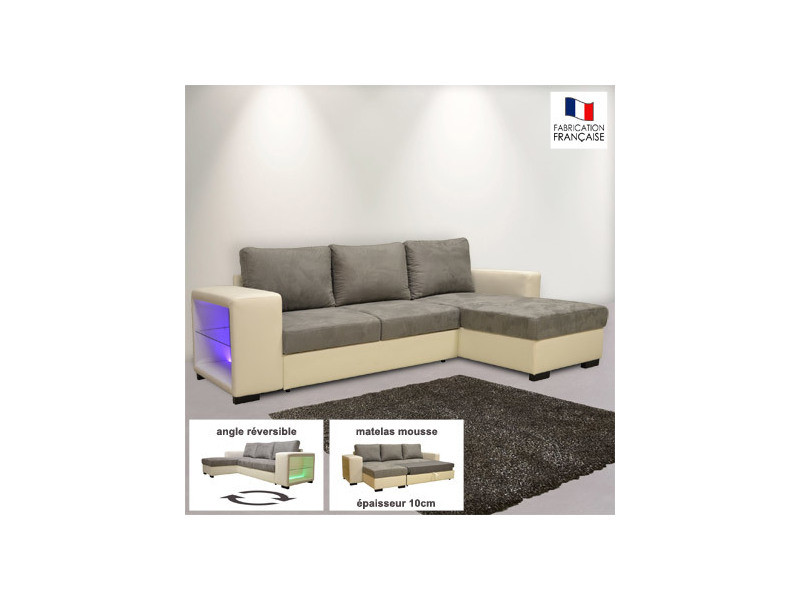 Canape D Angle Reversible Convertible Pu Micro Avec Leds Blanc Et