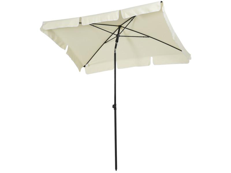 Parasol rectangulaire inclinable alu acier polyester haute densité diamètre 2 m beige clair