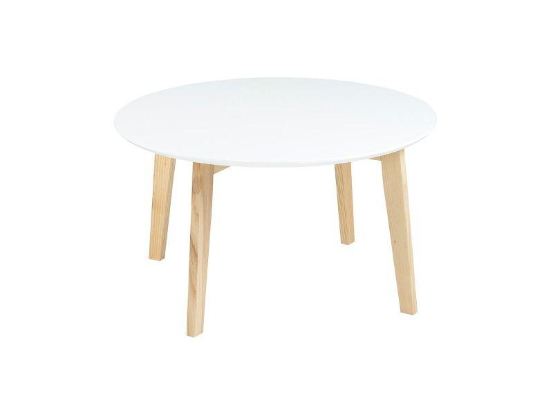 Table basse design ronde 80 cm blanc mat sara