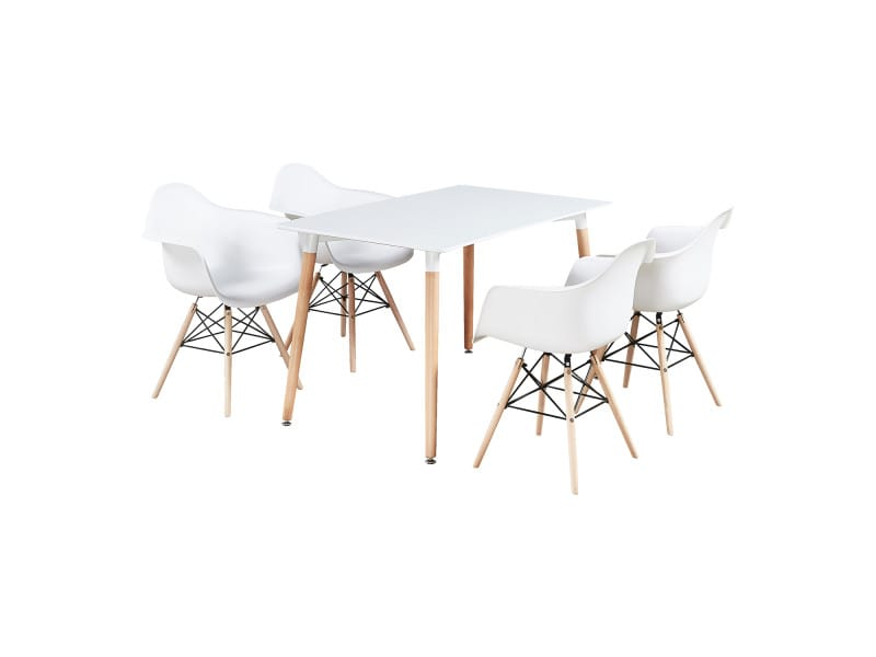 Ensemble table blanche & 4 chaises blanches avec accoudoirs - style scandinave - moda halo