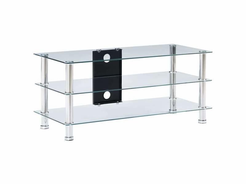 Meuble télé buffet tv télévision design pratique transparent 90 cm verre trempé helloshop26 2502218