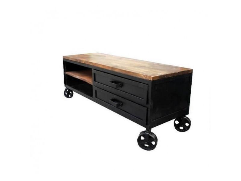 Industriel - meuble tv 140 sur roues