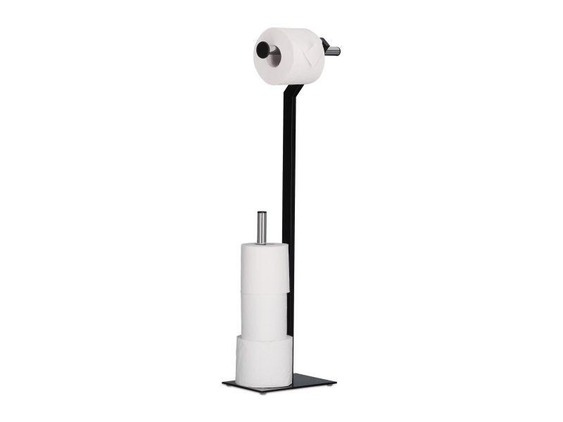 Porte papier toilettes sur pied meuble de salle de bain accessoire en métal helloshop26 13_0002151