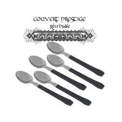 20 cuilleres prestige jetables plastique noir