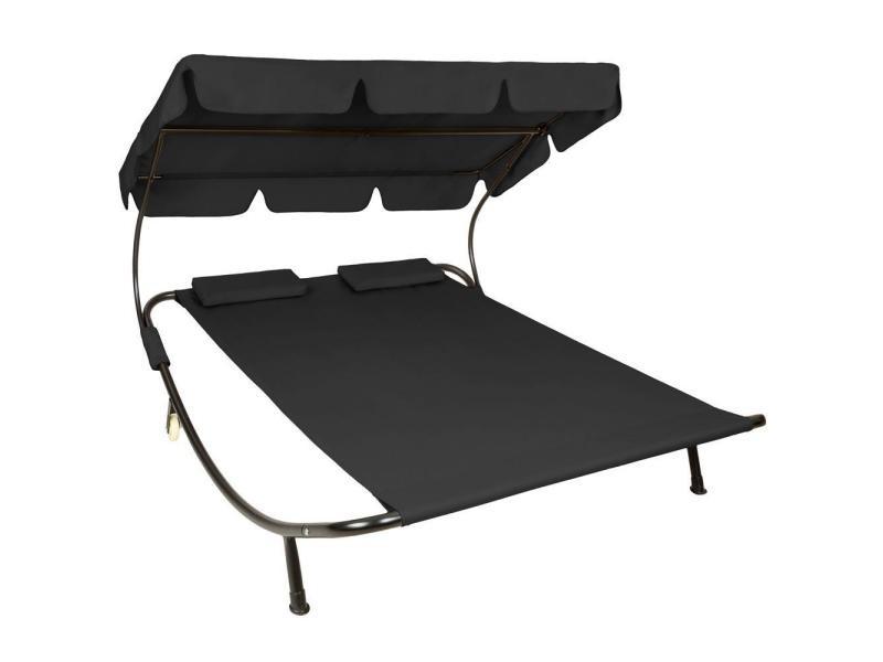 Bain de soleil chaise longue transat 2 places avec pare-soleil 2 places noir helloshop26 2208008