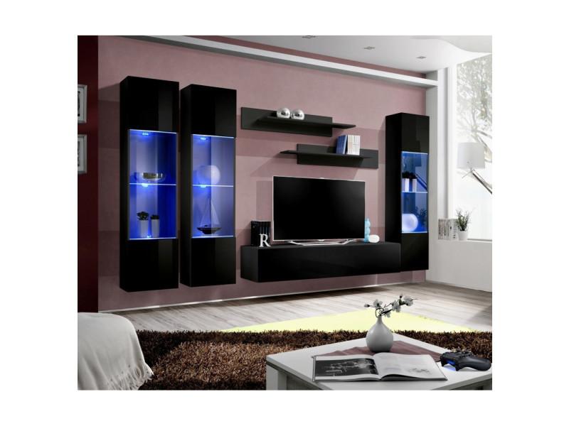 Ensemble meuble tv mural - fly ii - 310 cm x 190 cm x 40 cm - noir