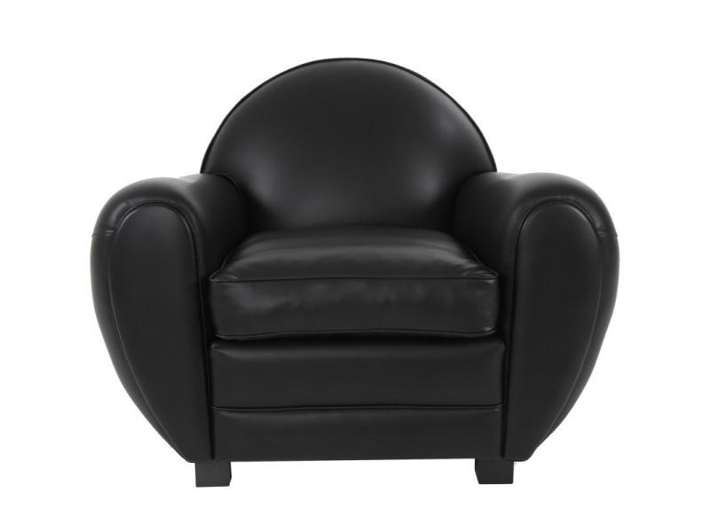 Fauteuil club cuir noir brillant - cheshire - l 91 x l 95 x h 88 - neuf
