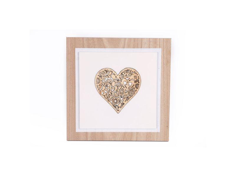 Tableau motif cœur - 27 x 27 cm - blanc