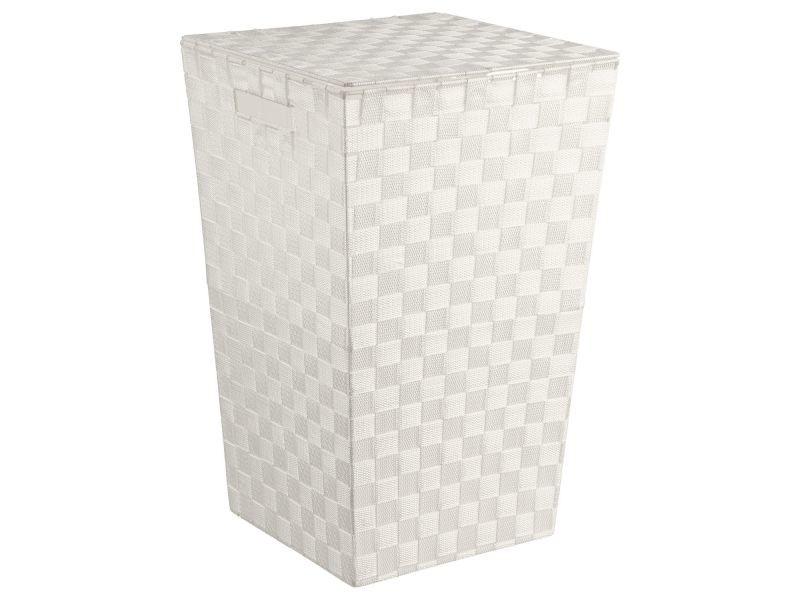 panier linge polyester tress blanc vente de. Black Bedroom Furniture Sets. Home Design Ideas