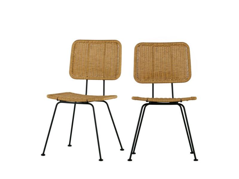 Hilde - 2 chaises indoor/outdoor - couleur - naturel 373635-N ...