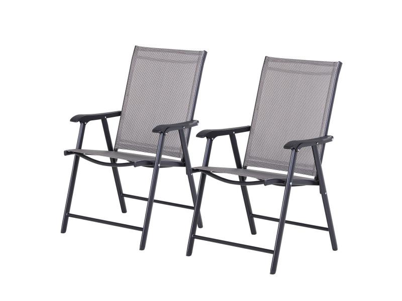 Lot de 2 chaises de jardin pliantes avec accoudoirs métal époxy textilène - dim. 58l x 64l x 94h cm - noir gris