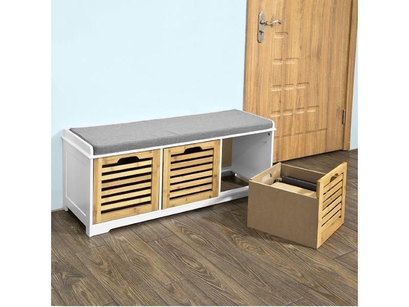 banc de rangement avec coussin rembourr et 3 cubes meuble d 39 entr e commode chaussure. Black Bedroom Furniture Sets. Home Design Ideas