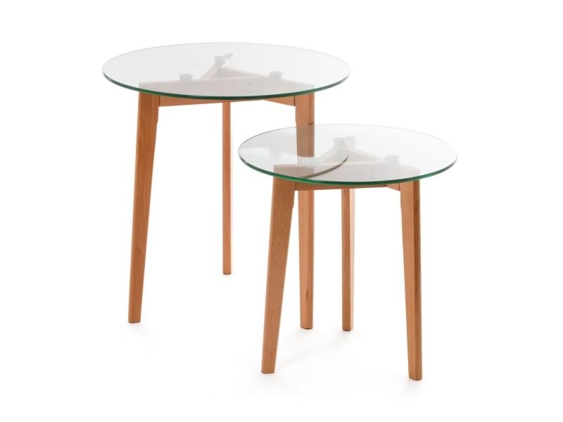 Set De 2 Tables Gigognes Scandinaves Smash Bois Verre