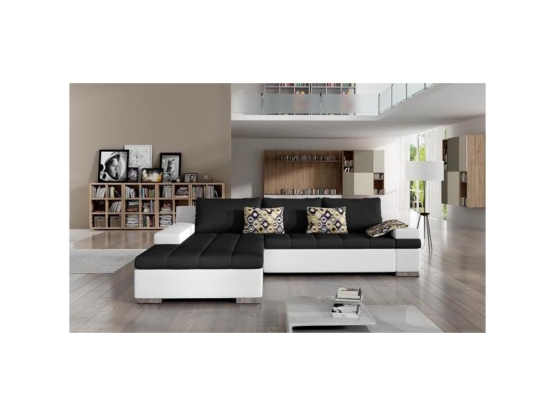 Rosy - canapé d'angle convertible gris anthracite et blanc - angle gauche