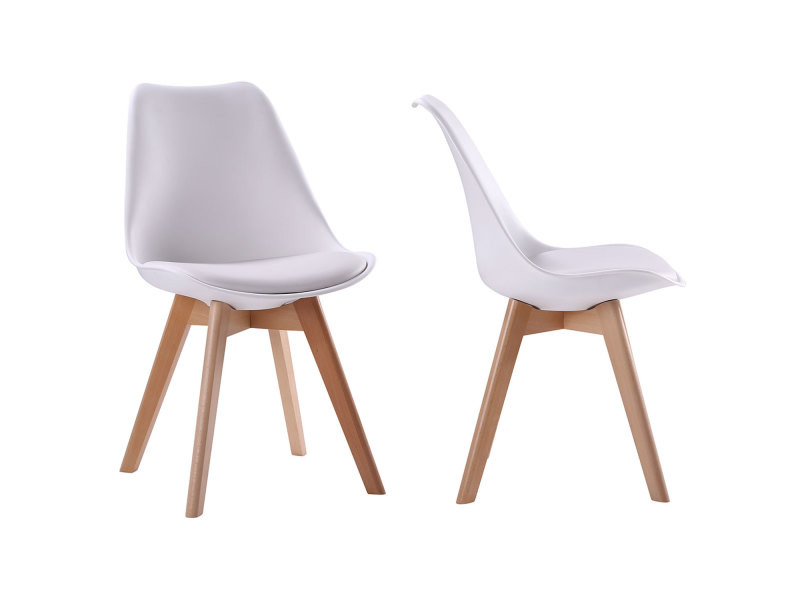 chaise scandinave blanche avec coussin fly